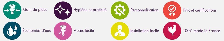Avantages : Gain de place, hygiène et praticité, personnalisation, prix et certification, économies d'eau, accès facile, installation facile, 100 % made in France
