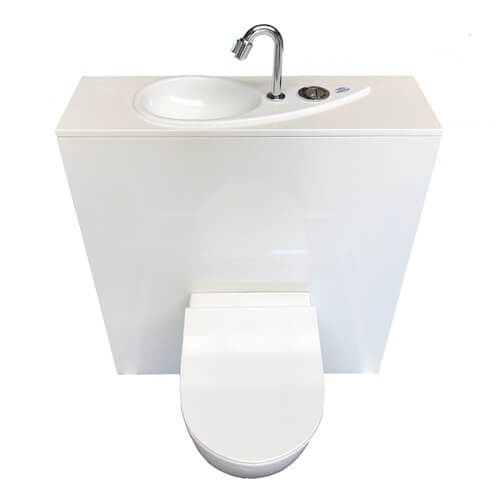 WiCi Free Flush, WC suspendu Geberit avec lave-main design